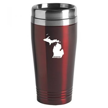 16 oz Stainless Steel Insulated Tumbler - Michigan State Outline - Michigan State Outline