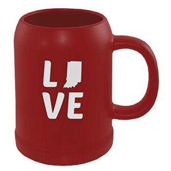 22 oz Ceramic Stein Coffee Mug - Indiana Love - Indiana Love