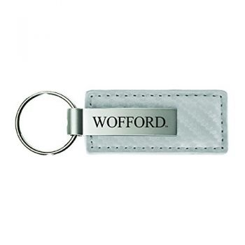 Wright State university-Carbon Fiber Leather and Metal Key Tag-White
