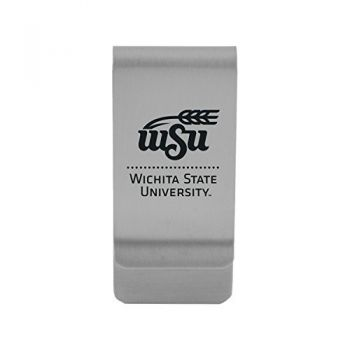 Wichita State University|Money Clip with Contemporary Metals Finish|Solid Brass|High Tension Clip to Securely Hold Cash, Cards and ID's|Gold