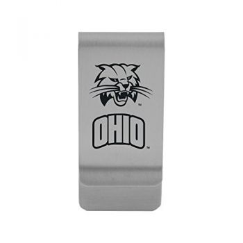 Ohio University|Money Clip with Contemporary Metals Finish|Solid Brass|High Tension Clip to Securely Hold Cash, Cards and ID's|Gold