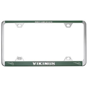 Portland State University -Metal License Plate Frame-Green