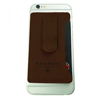 Wesleyan University -Leatherette Cell Phone Card Holder-Brown
