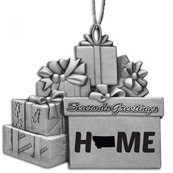 Montana-State Outline-Home-Pewter Gift Package Ornament-Silver