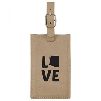 Arizona-State Outline-Love-Leatherette Luggage Tag -Tan