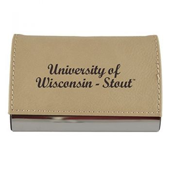 Velour Business Cardholder-University of Wisconsin-Stout-Tan