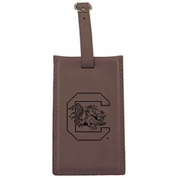 University of South Carolina -Leatherette Luggage Tag-Brown