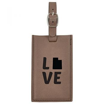 Utah-State Outline-Love-Leatherette Luggage Tag -Brown