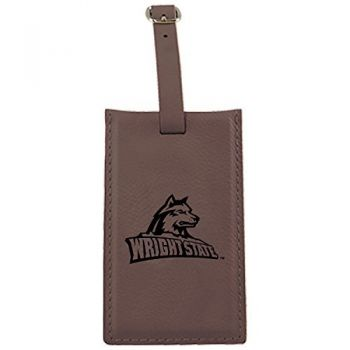 Wright State university -Leatherette Luggage Tag-Brown