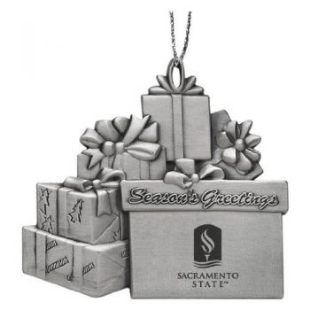 Sacramento State University - Pewter Gift Package Ornament