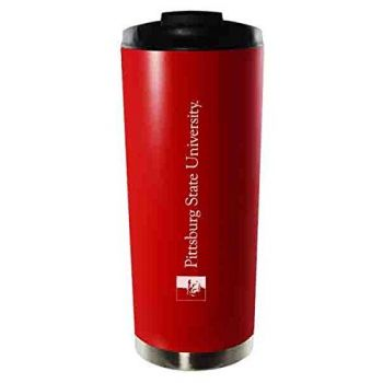 Pittsburg State University-16oz. Stainless Steel Vacuum Insulated Travel Mug Tumbler-Red