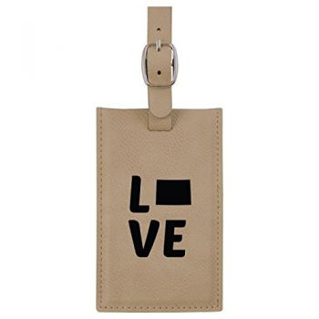 Colorado-State Outline-Love-Leatherette Luggage Tag -Tan