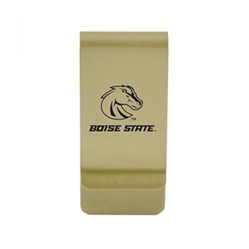 Binghamton University|Money Clip with Contemporary Metals Finish|Solid Brass|High Tension Clip to Securely Hold Cash, Cards and ID's|Silver