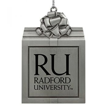 Radford University -Pewter Christmas Holiday Present Ornament-Silver