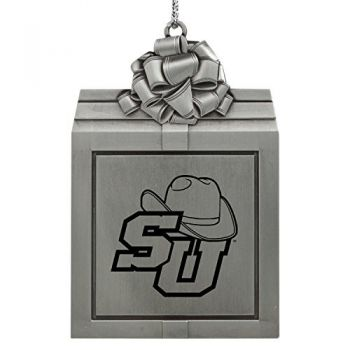 Stetson University -Pewter Christmas Holiday Present Ornament-Silver