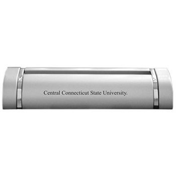 Central Connecticut State University-Desk Business Card Holder -Silver