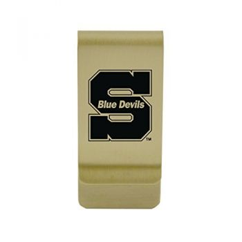 University of Wisconsin-Platteville|Money Clip with Contemporary Metals Finish|Solid Brass|High Tension Clip to Securely Hold Cash, Cards and ID's|Silver