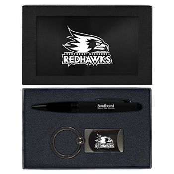 Southeast Missouri State University -Executive Twist Action Ballpoint Pen Stylus and Gunmetal Key Tag Gift Set-Black