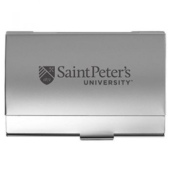 Saint Peter's University - Two-Tone Business Card Holder - Silver