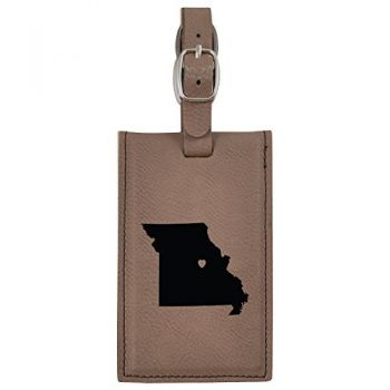Missouri-State Outline-Heart-Leatherette Luggage Tag -Brown