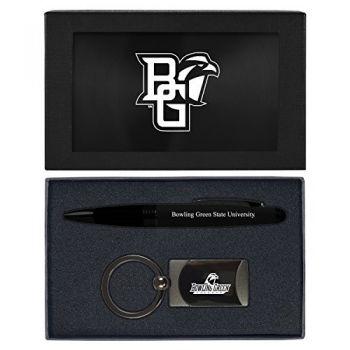 Bowling Green State University -Executive Twist Action Ballpoint Pen Stylus and Gunmetal Key Tag Gift Set-Black