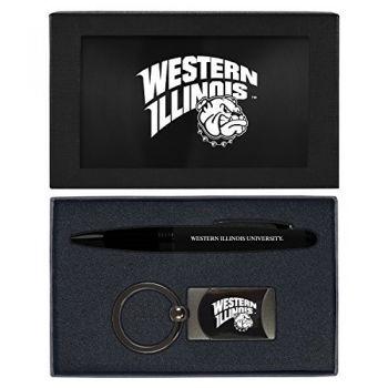 Western Illinois University -Executive Twist Action Ballpoint Pen Stylus and Gunmetal Key Tag Gift Set-Black