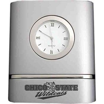 California State University, Chico- Two-Toned Desk Clock -Silver