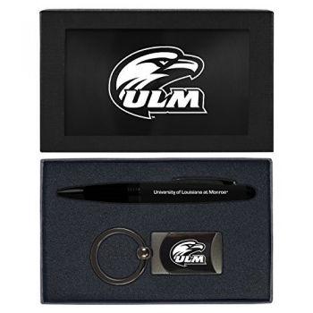 University of Louisiana at Monroe-Executive Twist Action Ballpoint Pen Stylus and Gunmetal Key Tag Gift Set-Black