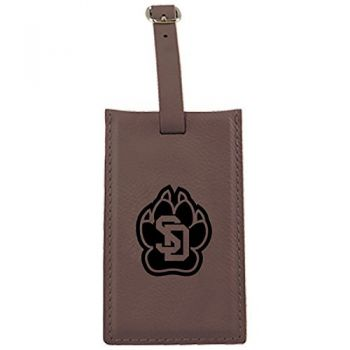 University of South Dakota -Leatherette Luggage Tag-Brown