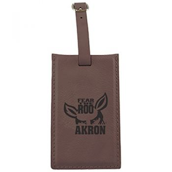 University of Akron -Leatherette Luggage Tag-Brown