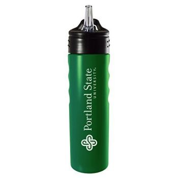 Portland State University-24oz. Stainless Steel Grip Water Bottle with Straw-Green