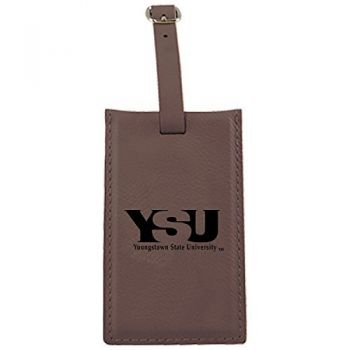 Youngstown State University -Leatherette Luggage Tag-Brown
