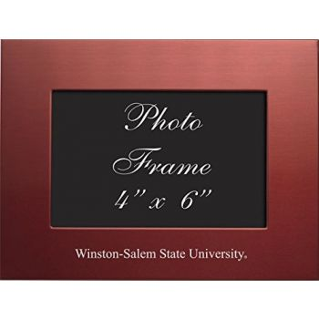Winston-Salem State University - 4x6 Brushed Metal Picture Frame - Red