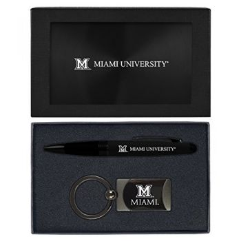 Miami University -Executive Twist Action Ballpoint Pen Stylus and Gunmetal Key Tag Gift Set-Black