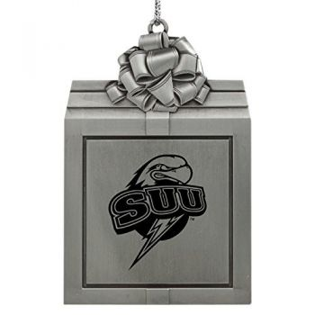 Southern Utah University -Pewter Christmas Holiday Present Ornament-Silver