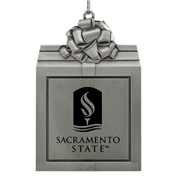 California State University -Pewter Christmas Holiday Present Ornament-Silver