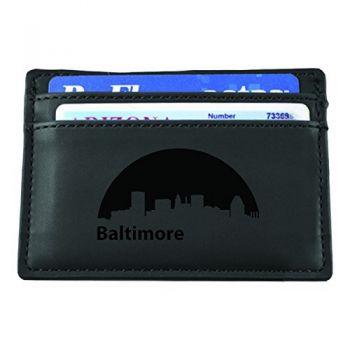 Slim Wallet with Money Clip - Baltimore City Skyline