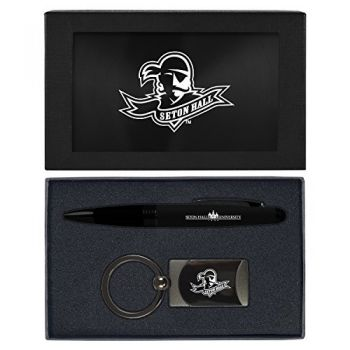 Seton Hall University -Executive Twist Action Ballpoint Pen Stylus and Gunmetal Key Tag Gift Set-Black