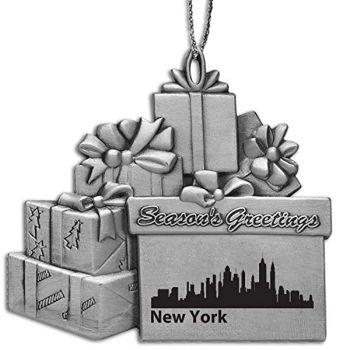 Pewter Gift Display Christmas Tree Ornament - New York City City Skyline
