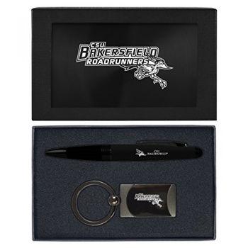California State University, Bakersfield-Executive Twist Action Ballpoint Pen Stylus and Gunmetal Key Tag Gift Set-Black