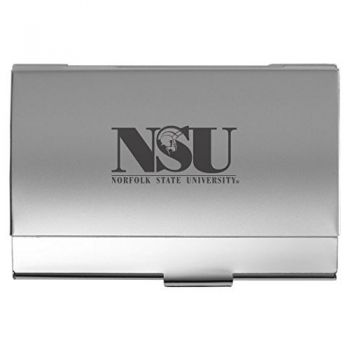 Norfolk State University - Two-Tone Business Card Holder - Silver