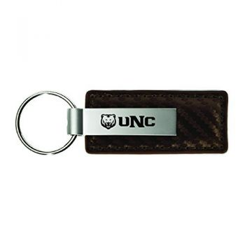 University of Northern Colorado-Carbon Fiber Leather and Metal Key Tag-Taupe