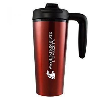 Washington State University -16 oz. Travel Mug Tumbler with Handle-Red