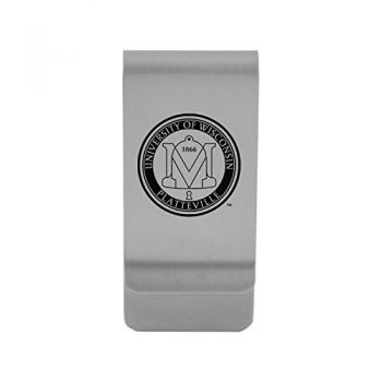 University of Wisconsin-Platteville|Money Clip with Contemporary Metals Finish|Solid Brass|High Tension Clip to Securely Hold Cash, Cards and ID's|Gold