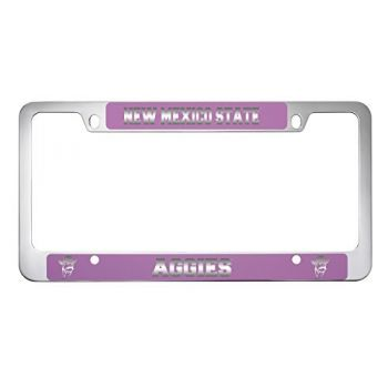 New Mexico State-Metal License Plate Frame-Pink