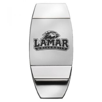 Lamar University - Two-Toned Money Clip - Silver