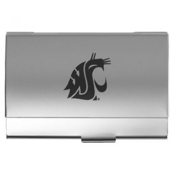 Washington State University - Two-Tone Business Card Holder - Silver