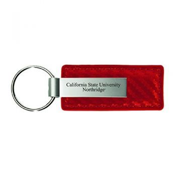 Canisus College-Carbon Fiber Leather and Metal Key Tag-Red