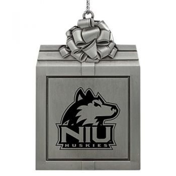 Northern Illinois University -Pewter Christmas Holiday Present Ornament-Silver