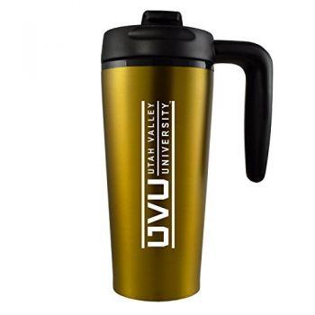 Utah Valley University -16 oz. Travel Mug Tumbler with Handle-Gold